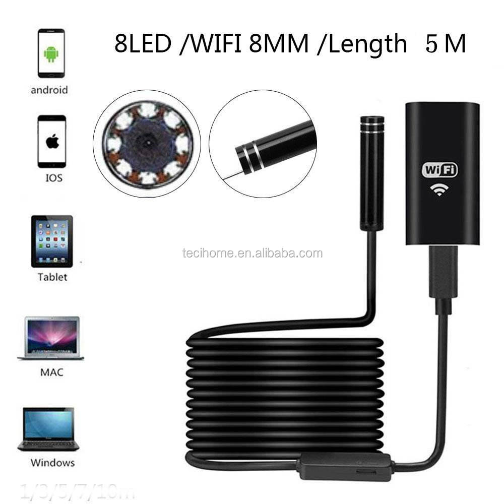 Smartphone Endoscope HD720P 2MP 8 LED 8ミリメートルLens WIFI Mini Video Endoscope Camera