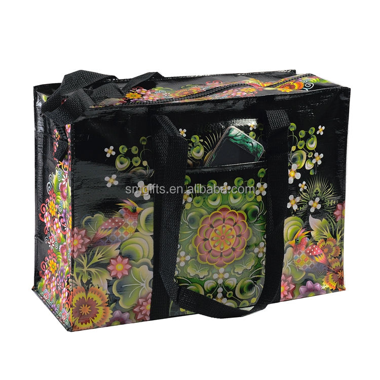 paper woven laminated and agriculture using grocery pp woven bag with zipper