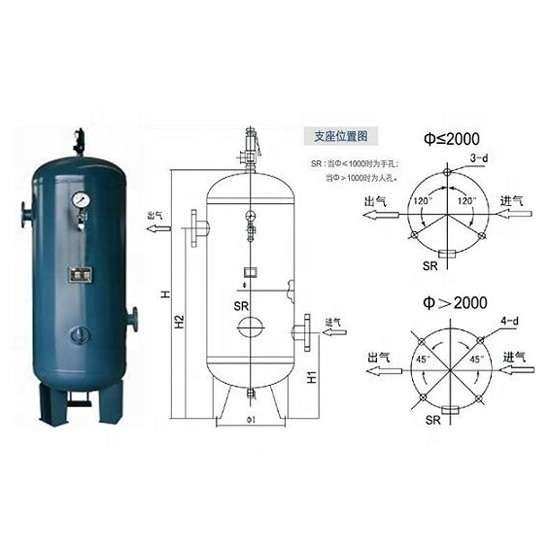 High pressure 1000 Litre screw compressor air receiver tank