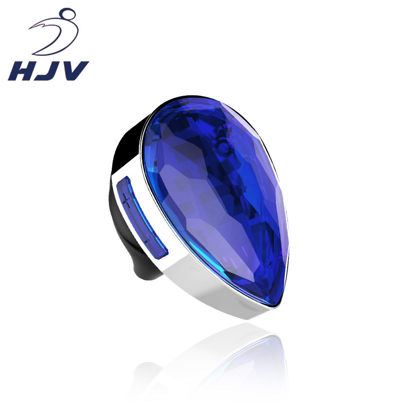 HJV Wholesales Fashion Big Diamond Wireless Earbuds Ladies Gemstone 3D Stereo Mini Earphones For Girls