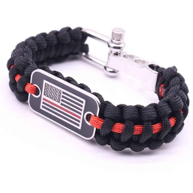 Adjustable Thin red line paracord Bracelet With U shackle buckles U adjustable bracelet shackle With Country Flag logo metal tag