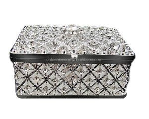 Uniqutie hollow Rectangular rhinestone fashion wedding favors and gifts metal trinket box