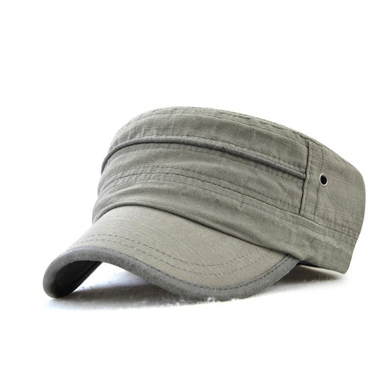 Flat top military cap and hat cotton flat cap with short brim