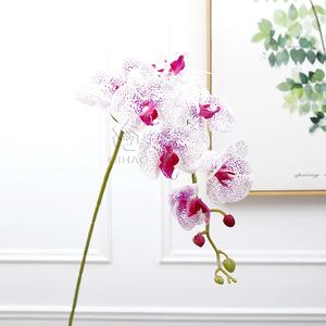 9 Heads Artificial Real Touch Latex Wholesale Plastic Moth Dendrobium orchid plants Artificial White Orchid Flowers for Sale