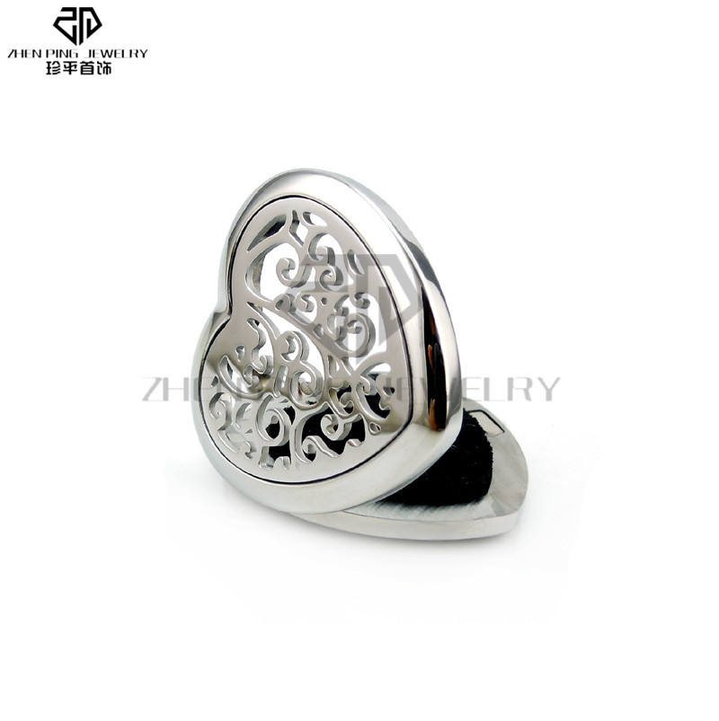 Fashion jewelry stainless steel aromatherapy diffuser lockets heart pendant with pad