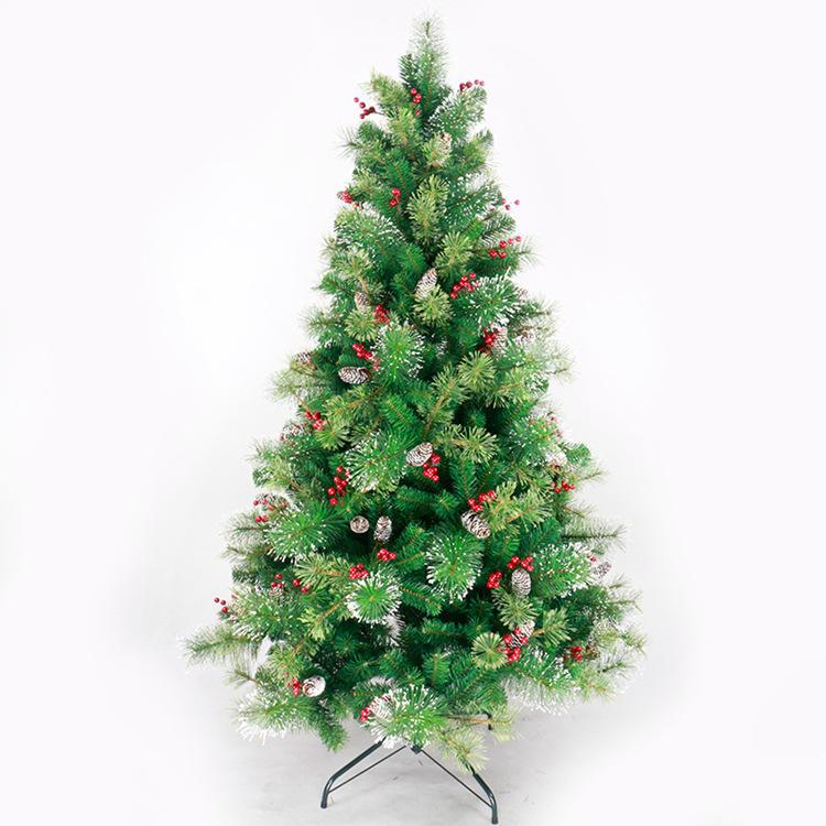 Artificial de alta calidad de PVC + aguja de pino mixto rojo enterrada árbol de Navidad decorado