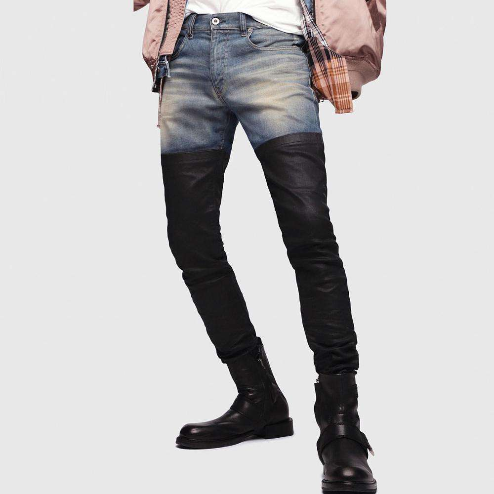 New Fashion Design OEM ODM Men Ripped Skinny Jeans Two Tone Slim Fit Trouser