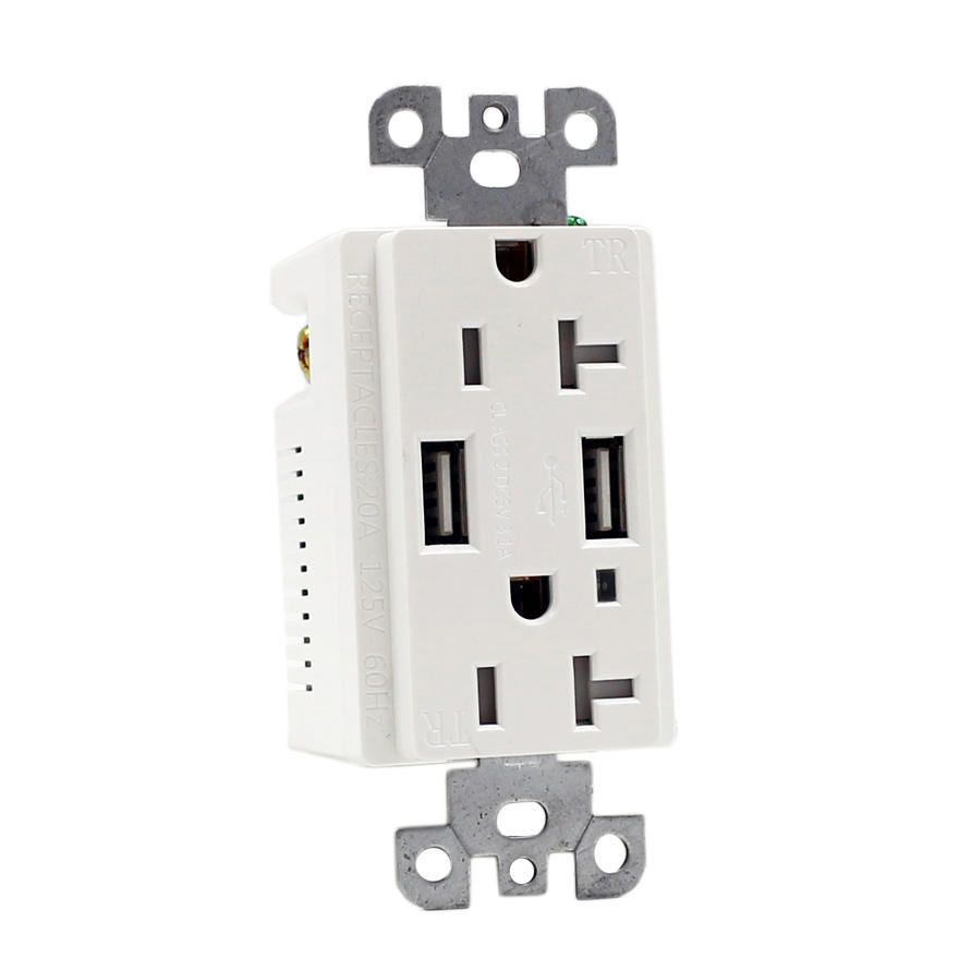 Großhandel USA double power outlet wand <span class=keywords><strong>20a</strong></span> USB buchse