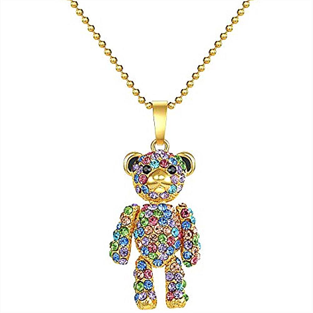 Custom Zinc Alloy Metal Crafts Gold Plating Rainbow Colorful Crystal Bear Pendant Beads Chain Necklaces Jewelry