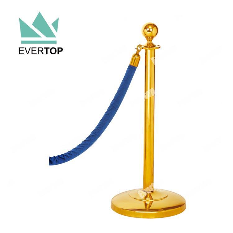 TS-T03 Chrome Messing Klassische Crowd Control Stanchion, traditionelle Hanging Seil Publikumskontrollbarriere mit Ball Top