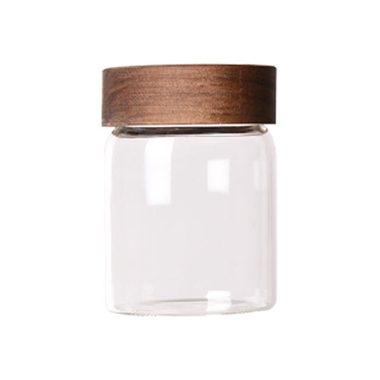 Factory sell glass storage jar with wood lid, spice jar glass