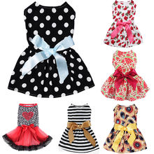 Cute Polka Dot Ribbon Cozy Sleeveless Dog Shirt Sundress Pet Dog Dress