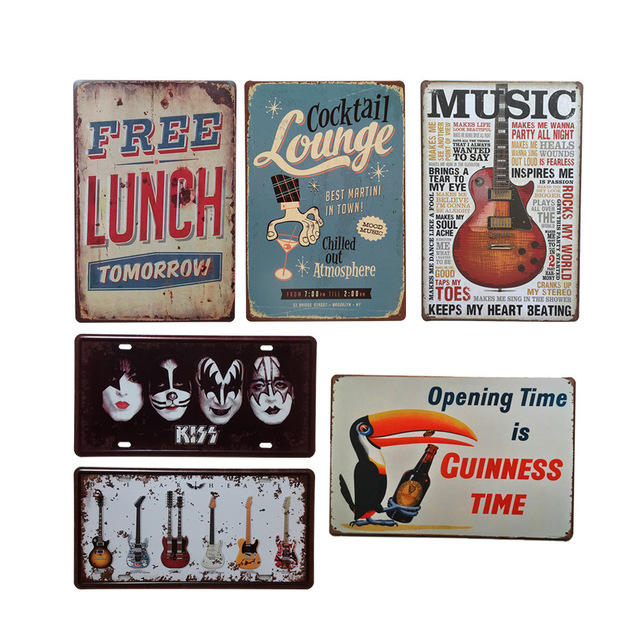 2019 High quality Custom Decorative Embossing Vintage Tin Plate Sign coffee tin sign