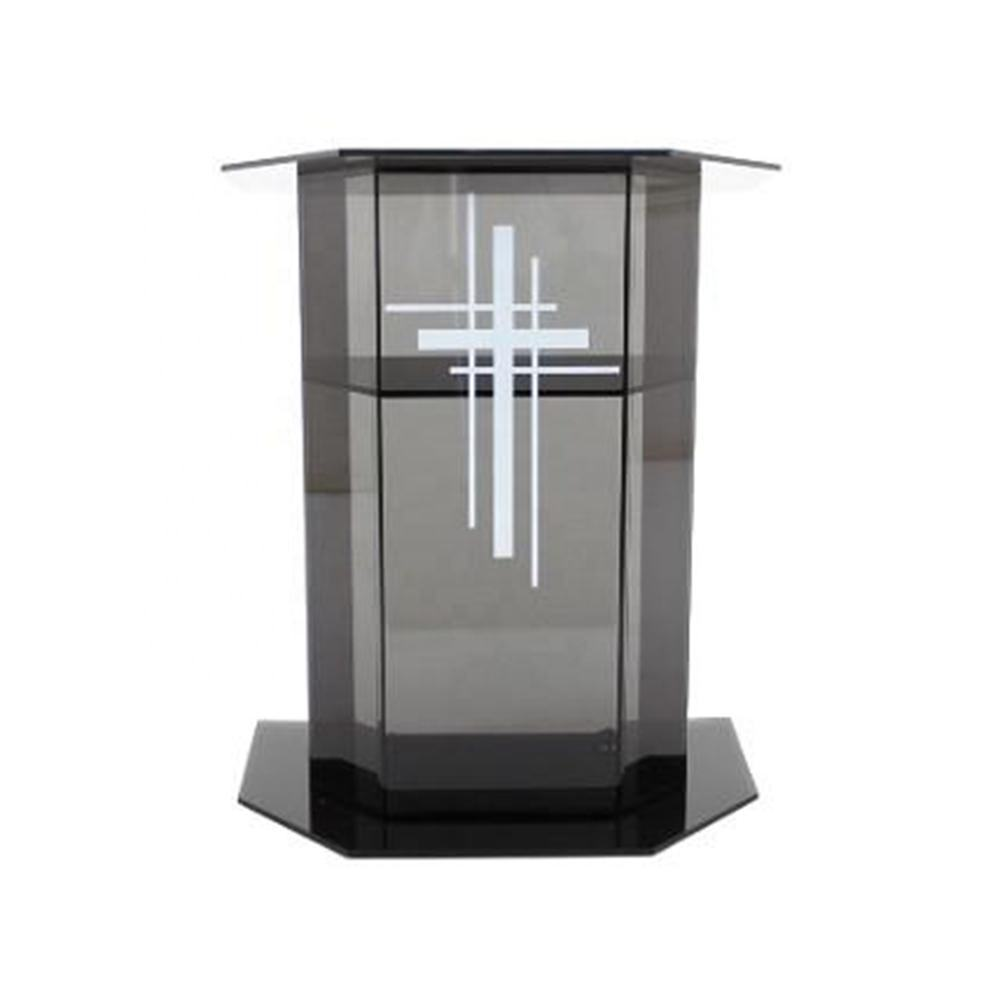 Transparent Wide Top Acrylic Church Pulpit Elegent Acrylic Church Pulpit with Four Acrylic Curved Spine