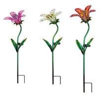 Glass Metal  Flower Outdoor Stake Garden Solar Light