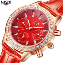 LIGE Luxury Brand Women Dress Watches Ladies Waterproof Leather Quartz Watch Woman Fashion Diamond watches