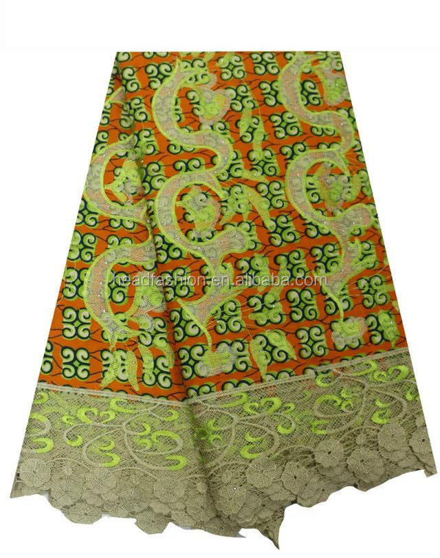 Quality 100% Cotton Wholesale African Wax Print Fabric With embroidery designs flower cord lace