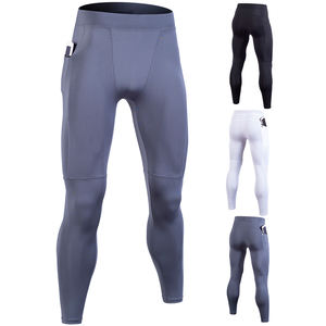 custom logo men sport wear pants for running compression fitness seamless leggings with pocket