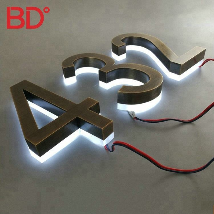 Backlit led house acrylic room number signs house numbers stainless steel metal signs