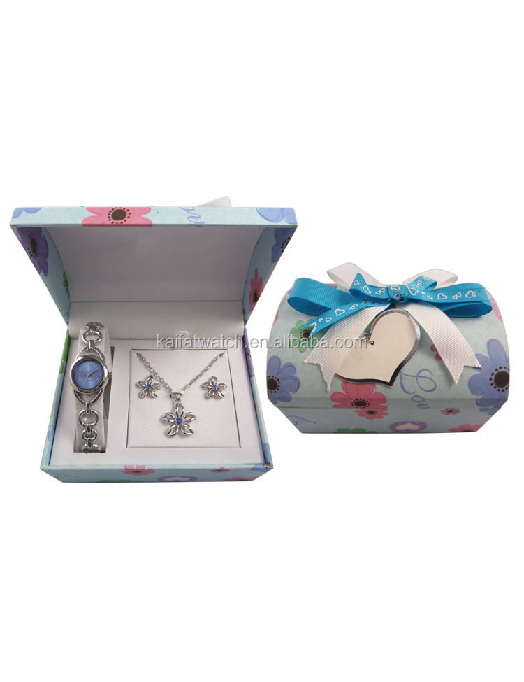 925 silver lady watch and flower jewelry set