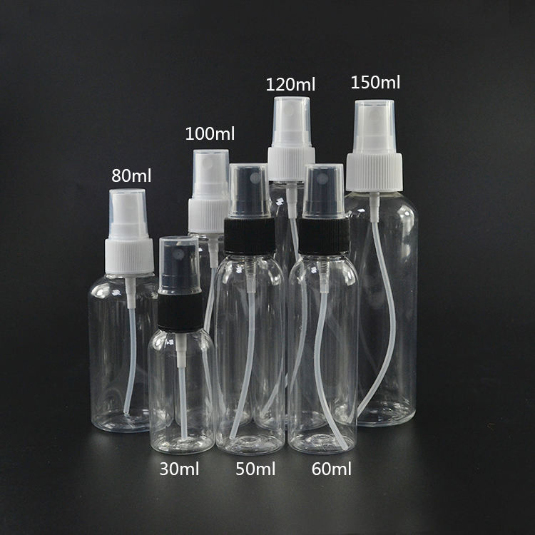 HOT plastic spray bottle perfume 30ml 50ml 60ml 80ml 100ml 120ml 150ml pet plastic spray bottle for perfume cosmetic wholesales