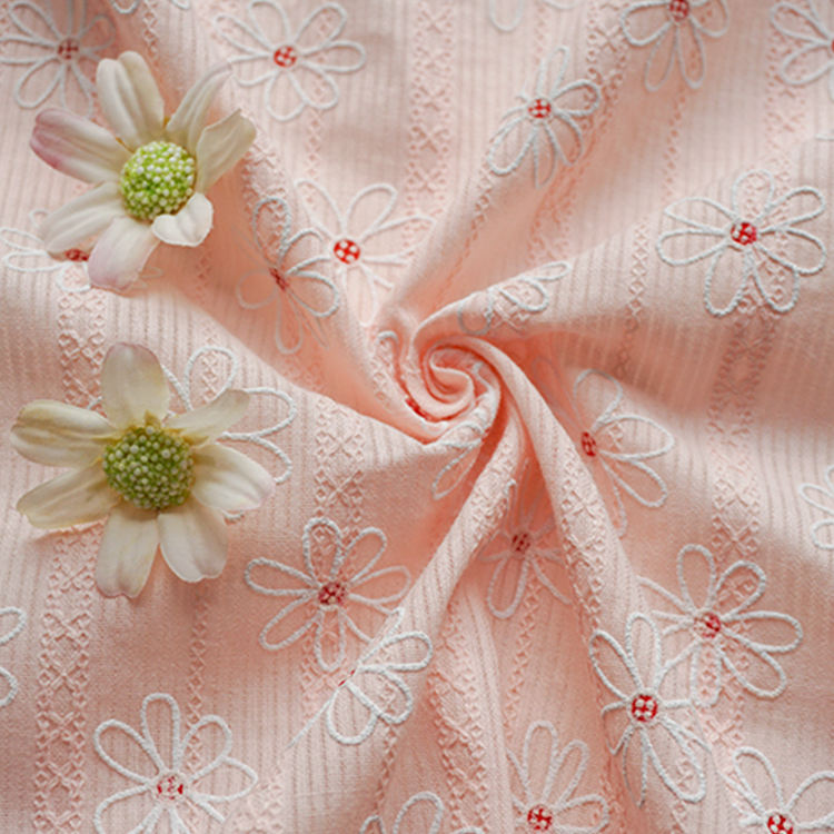 High quality leno pink floral type jacquard bubble print swiss cotton fabric for garment