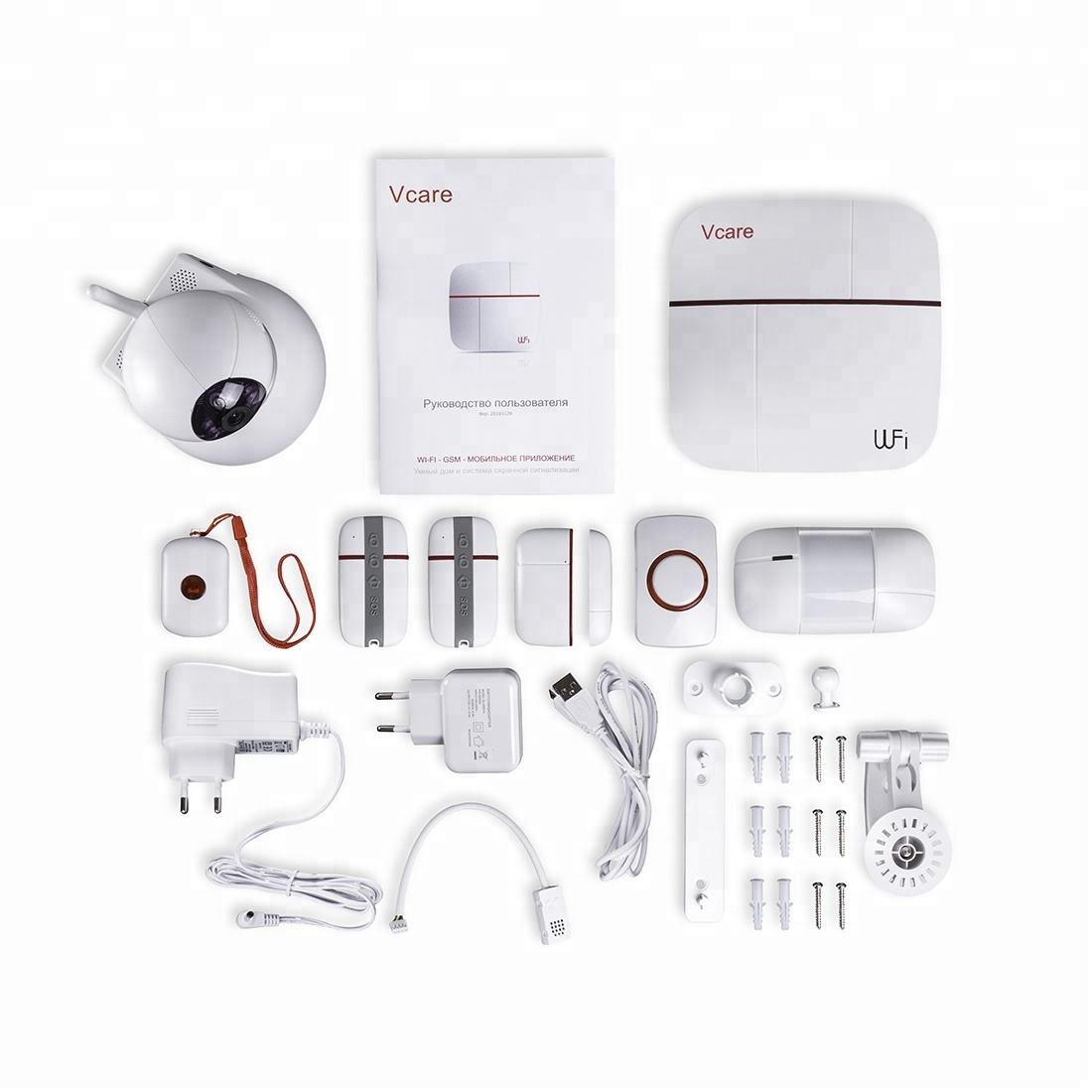 Hot sale! LoRa 433MHz Vcare Smart Wi-Fi GSM Alarm System Wireless Home Security Camera System