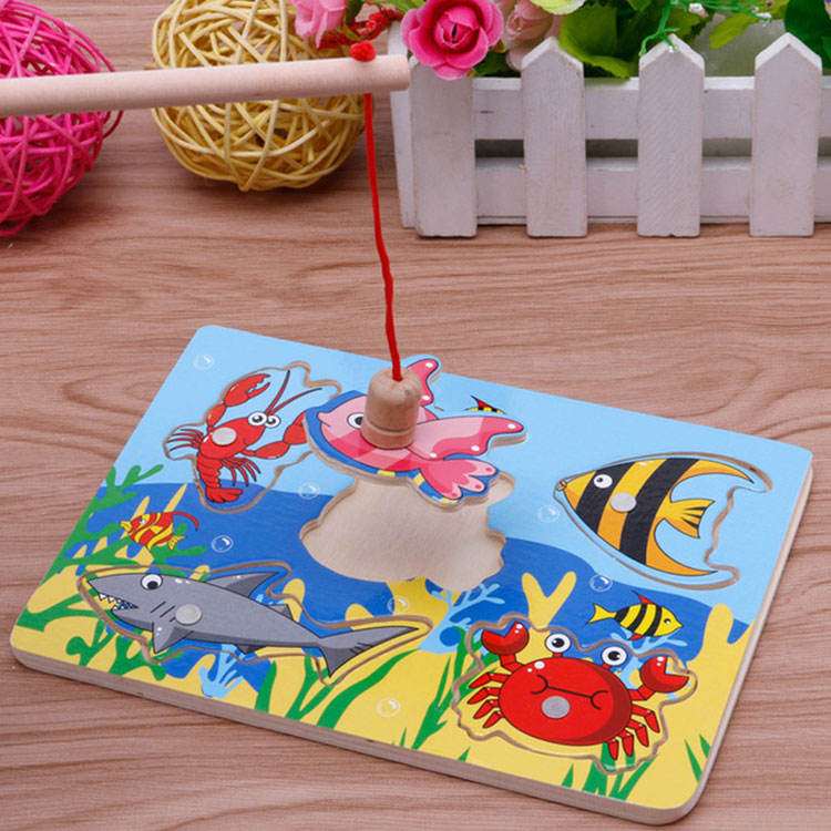 1-3 years baby Sticker Fishing Puzzle Wooden magnetic fishing toy
