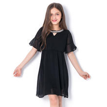 Fancy kids clothing / girls pretty black chiffon beading dress