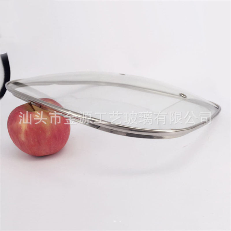 Jinyuan Rectangle Glass Frying Pan Lid With Double Holes