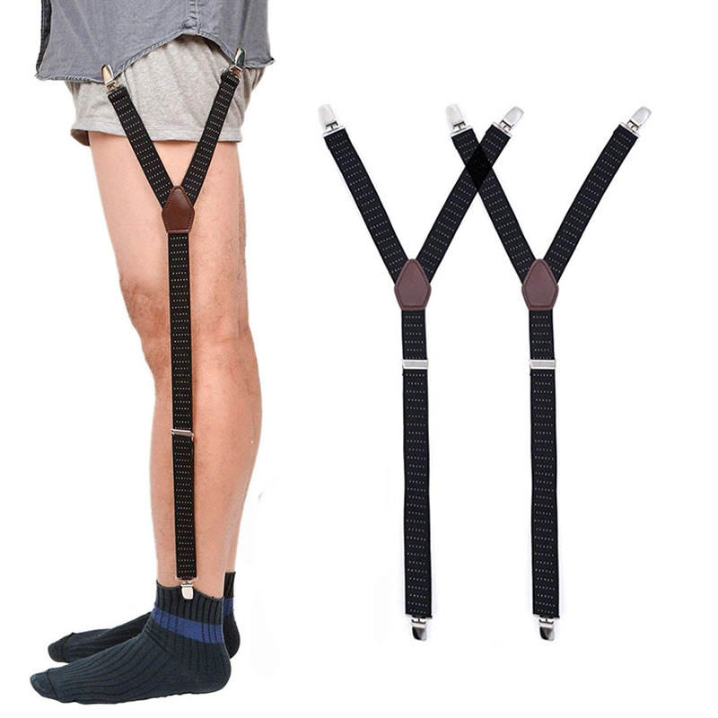 Custom Logo Men's Non-slip Y Shaped Adjustable Elastic Uniform Shirt Stay Garter Belts for Men