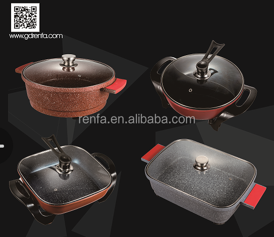 Electric Hot Pot Frying Pan RF-801A with Glass Lid Medical Stone Non-Stick Coating