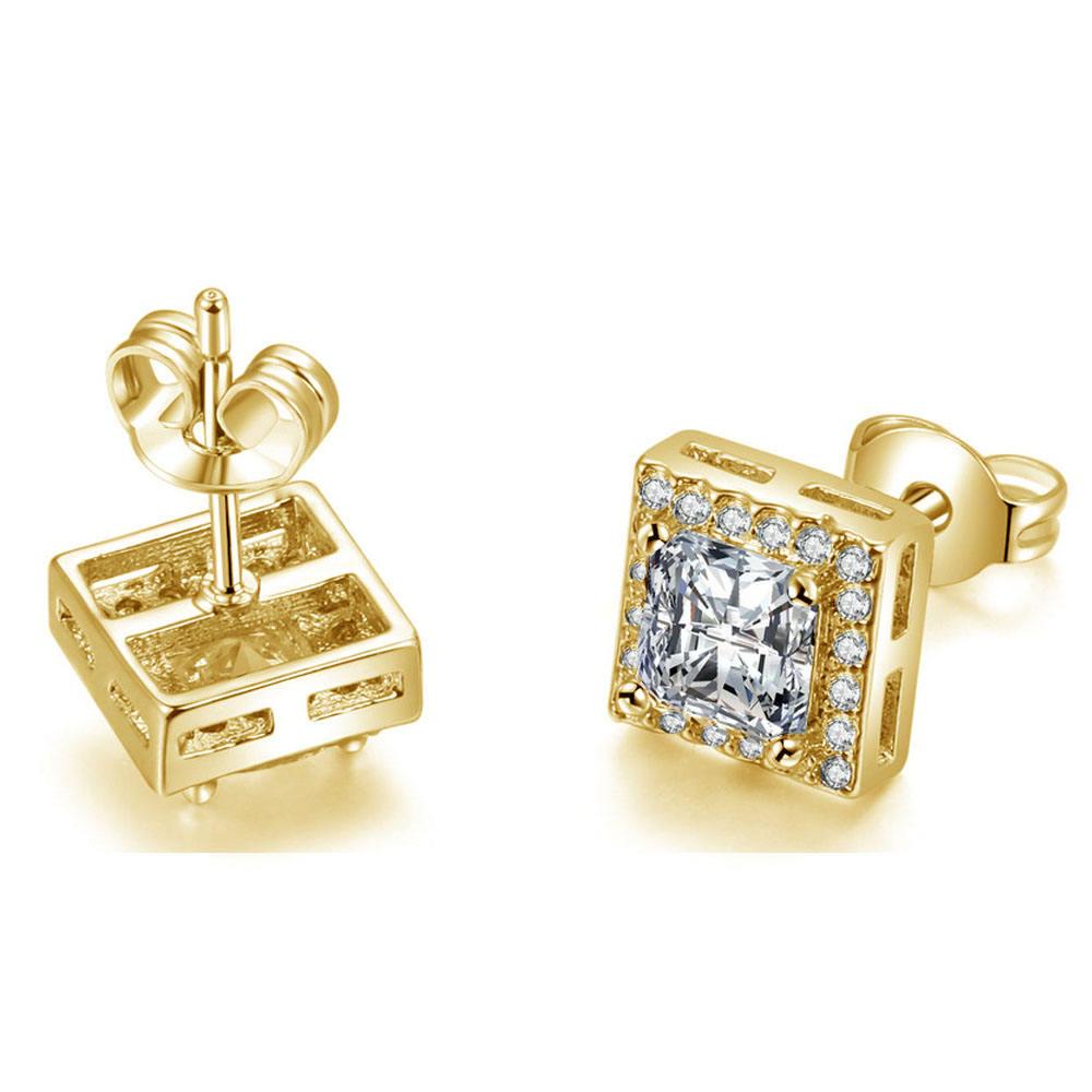 New Arrival Shining luxurious square full zircon stud earring for men and women