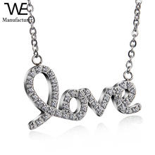 Women Stainless Steel Silver Fashion Love Pave Diamond Pendant Necklace Jewelry