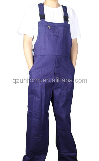 नीले 100 कपास वयस्क बिब चौग़ा coverall workwear buckles