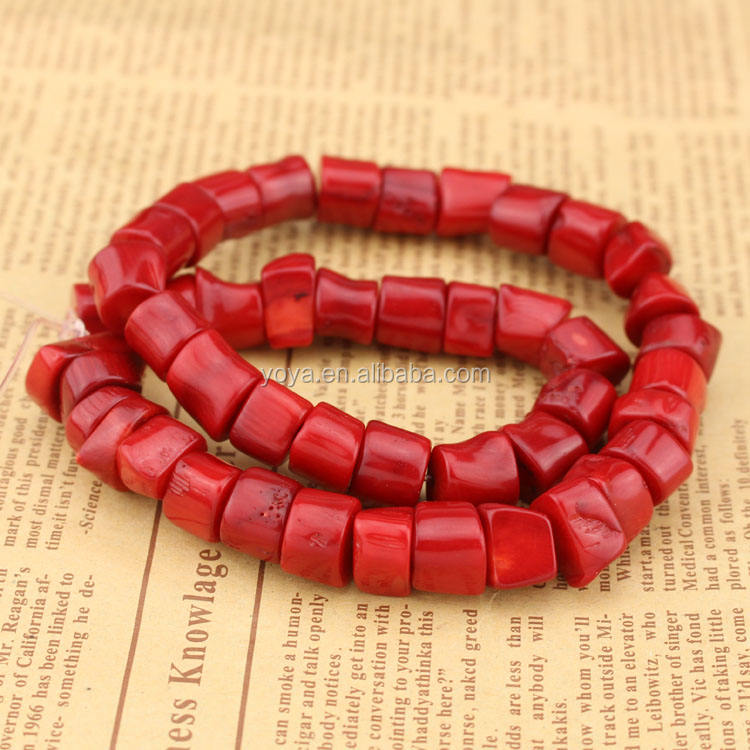 CB8063 Red coral freeform nugget drum beads,drum shaped coral beads