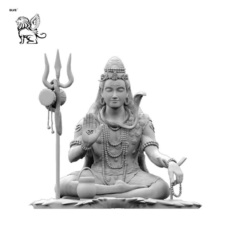 hand carved garden decoration life size religious lord shiva marble statue DXCD-63