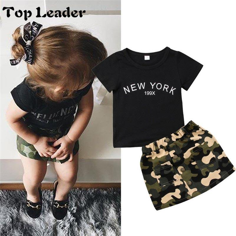 Top Leader Newborn Kid Baby Girl clothes round short sleeve letter print Top Camouflage Button pocket Skirts 2pc Toddler cotton