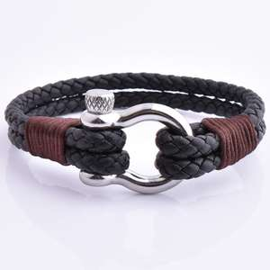 Latest Fashion Nautical Anchor Shackle Leather Rope Knot Bracelet For Boys