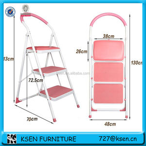 Folding steel step ladder with cushion seat