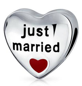 """Just married"" custom engraved letters beads"