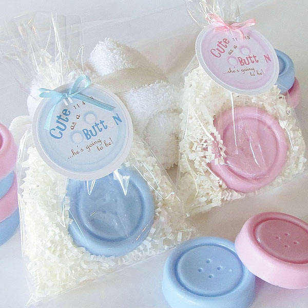 Cute as a Button Blue and Pink Scented Soap Wedding Souvenirs