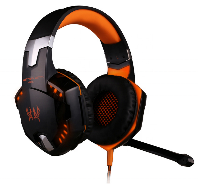 Hottest Kotion Each G2000 gaming headphone stereo casque deep bass top quality computer headphone with Mic and led light