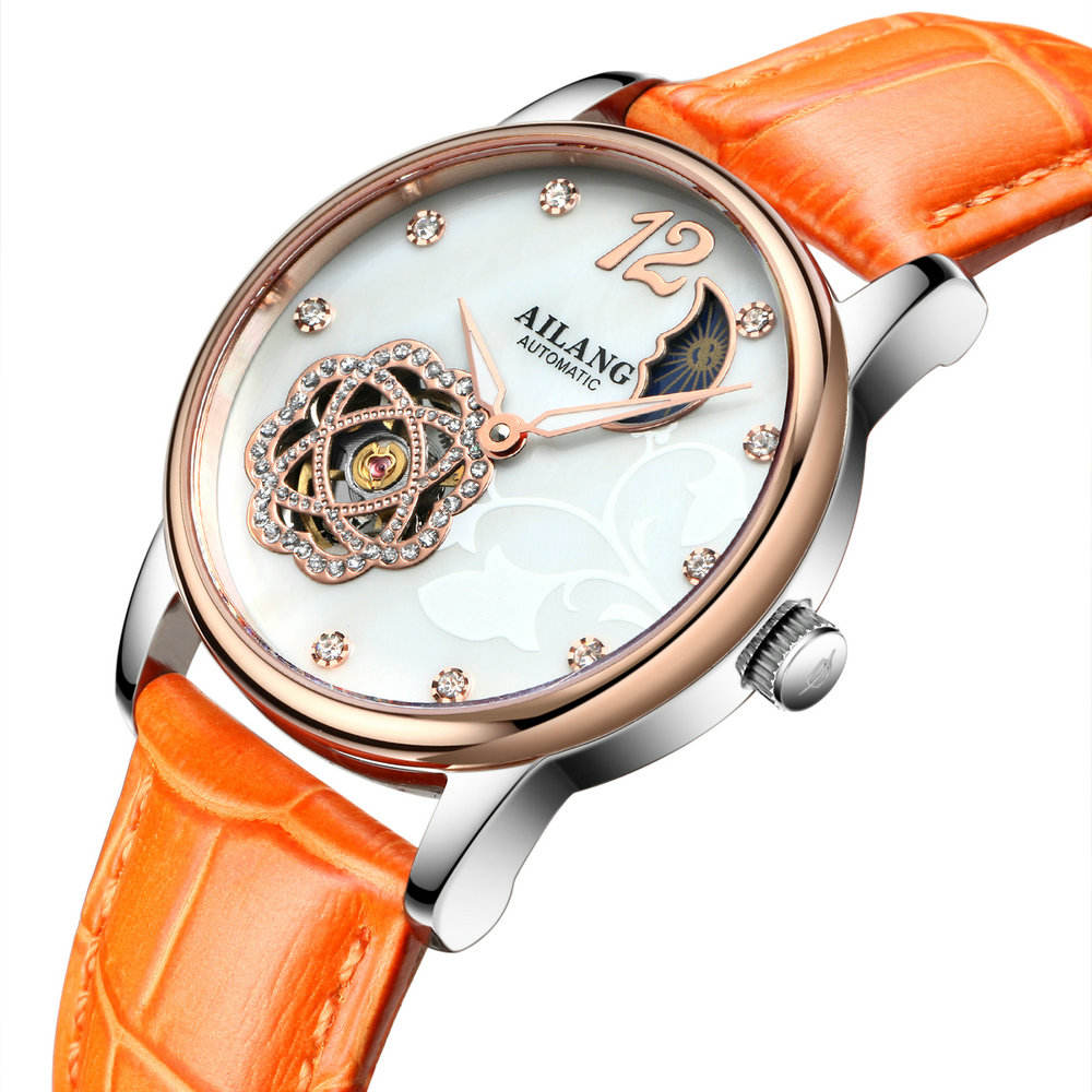 AILANG 8808 Women Automatic Mechanical Watch With Rhinestone Charm Leather Lady Hand Watch