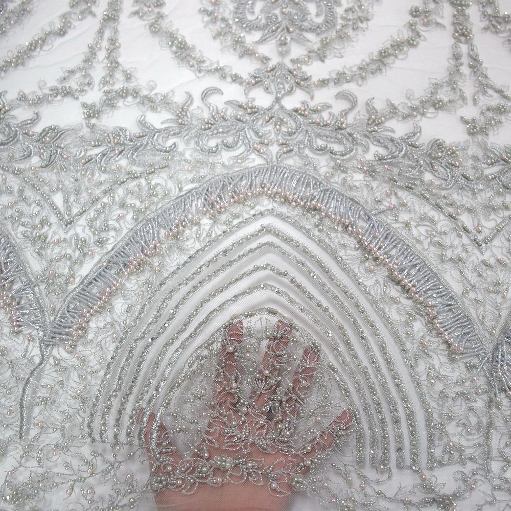latest embroidery net lace bead lace bridal fabric 3d net tulle HY0971-2
