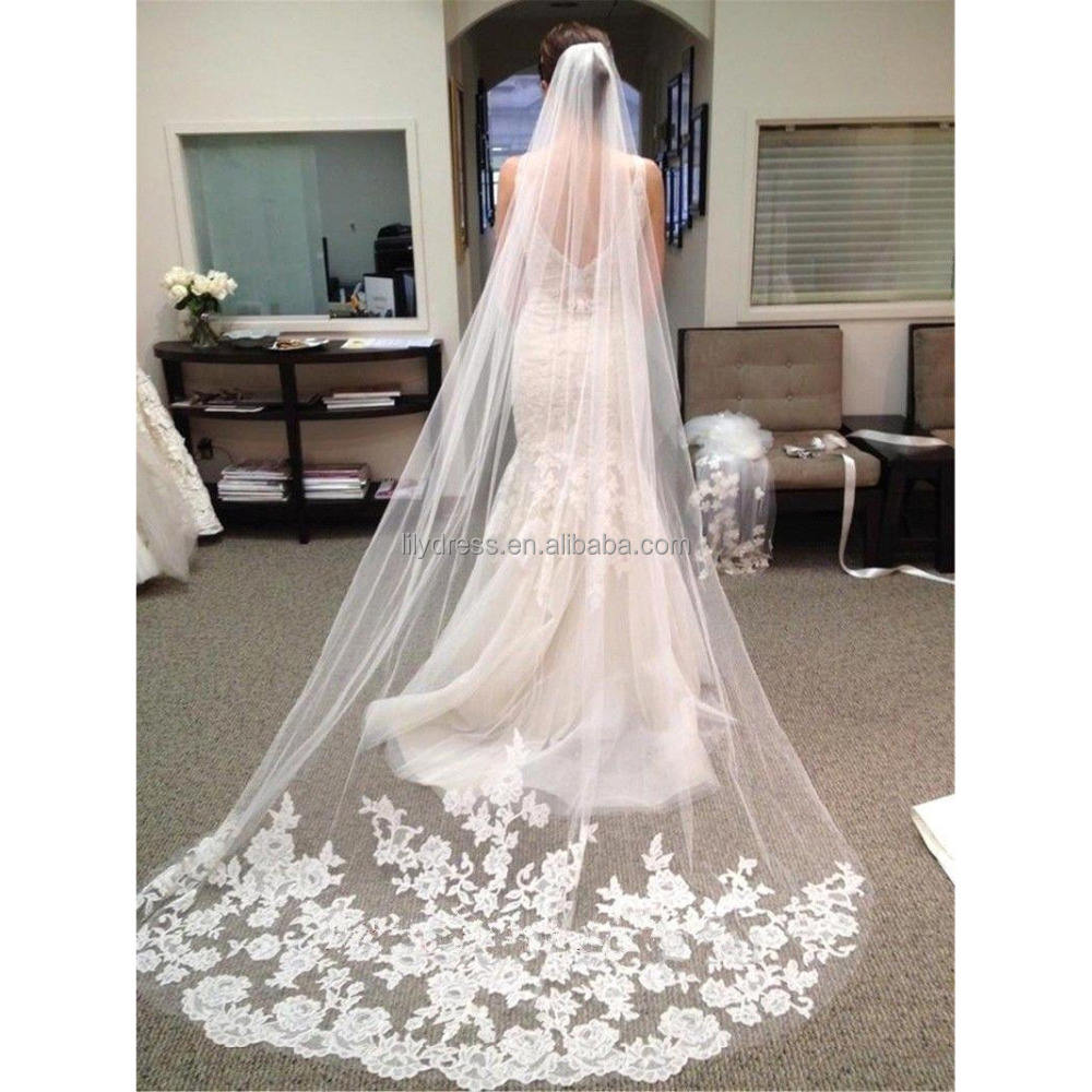 """Spanish Lace Chapel 58/"""" Long WHITE 1T 1 Layer Mantilla Cathedral Wedding Veil"""