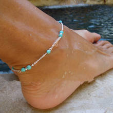 2019 Wholesale Fashion Turquoise Jewelry 925 Sterling Silver Design Hotwife Foot Chain Anklets For Women