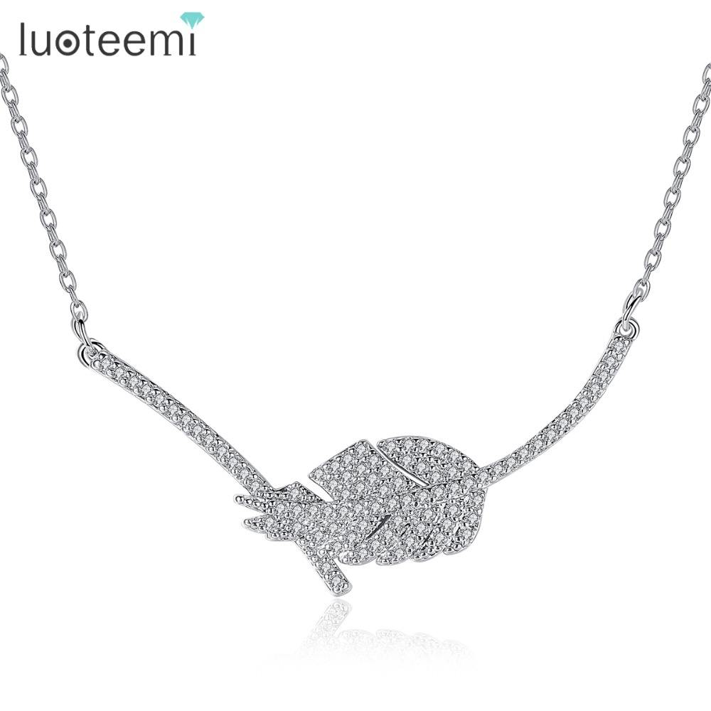 LUOTEEMI Diamond Necklace Women Choker Pendant Female Silver Color Clear Cubic Zircon Jewelry Leaf Cubic Necklace