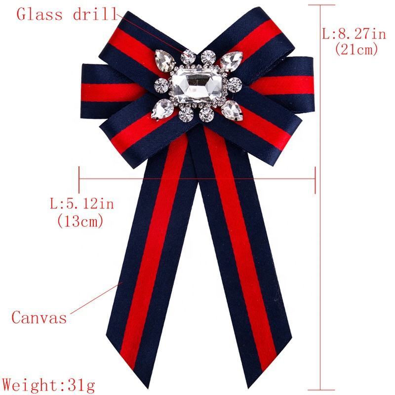 New Crystal Stripe Ribbon Bow-knot Tie Necktie Corsage Brooch for Women