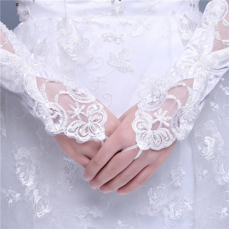 Hot sale top quality cheap middle long fingerless lace gloves for bridal wedding Accessories MGB14